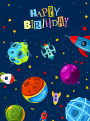 Happy birthday gift card with cute planets and rockets