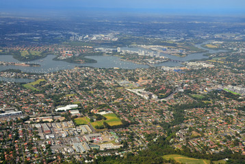 Airplane view of the city of Sydney Australia