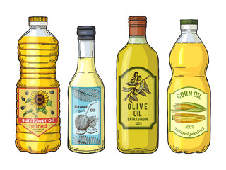 Labels for different oils. Sunflower, olive, corn and coconut. Vector pictures set