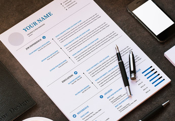 Resume and Cover Letter Layout with Blue Accents 2