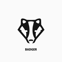 Badger icon on white background. Logo for your project. Vector illustration.