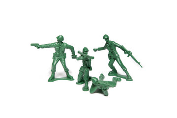 Green Plastic Toy Soldiers Isolated On White Background