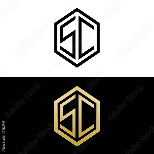 Initial Letters Logo Sc Black And Gold Monogram Hexagon
