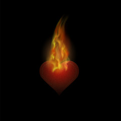 Burning Heart Sticker with Fire and Flame