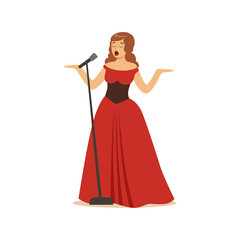 Beautiful woman opera singer in long red dress singing with microphone vector Illustration
