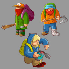 Collection of colorful vector post apocalyptic male survivors