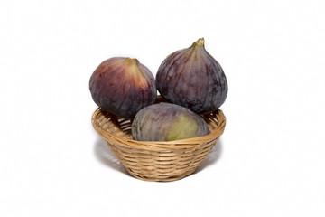 Fresh Figs Inside Straw Basket, Isolated On White Background