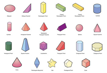 set of Basic  geometric shapes. Geometric solids vector  isolated on a white background.
