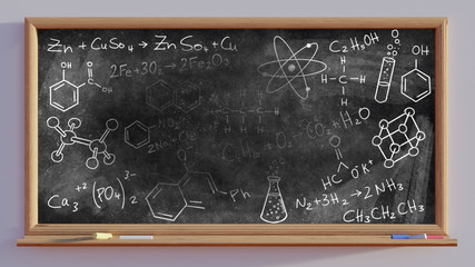 3D render of a blackboard and chemical scribbles