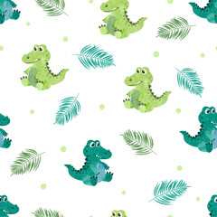 Seamless pattern with cute watercolor crocodiles. Vector background for kids.