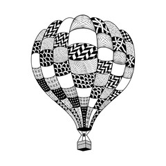 Vector hot air balloon in zentangle style. Coloring page book. Hand drawn hot air balloon