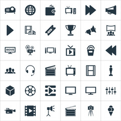 Vector Illustration Set Of Simple Film Icons. Elements Video Camera, Viewers, Virtual Reality And Other Synonyms Rearward, 3D And Camera.