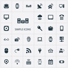 Vector Illustration Set Of Simple Web Icons. Elements Control Device, Pin, Oven And Other Synonyms Camera, Glasses And Dialing.