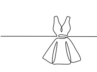 Silhouette holiday woman dress. Continuous line drawing. Vector illustration