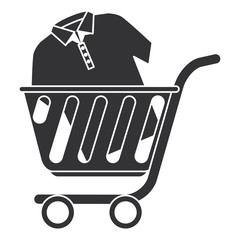shopping cart with shirt vector illustration design