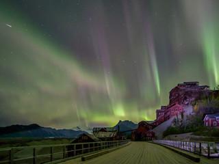 Northern lights over Kennicott Mill building, St Elias National Park in Alaska.