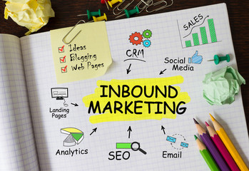 Notebook with Tools and Notes About Inbound Marketing