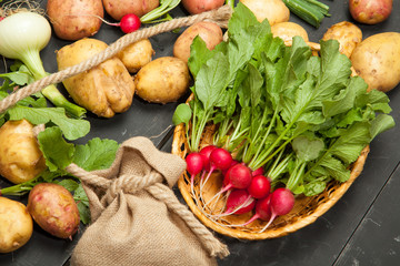 Fresh vegetables, radishes and potatoes on a black wooden background