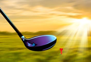 golf swing in the field sunset