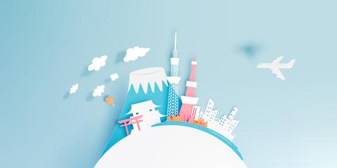 Tokyo japan city paper art style