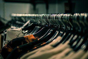 Clothes Hanging On Coathanger At Store