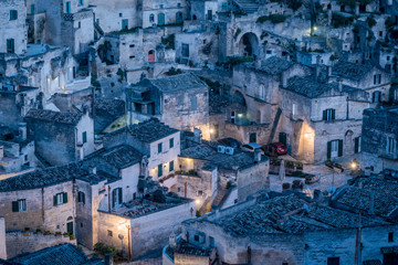 High Angle View Of Sassi Di Matera At Dusk