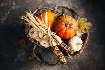 Pumpkins and corn in the basket, top view.