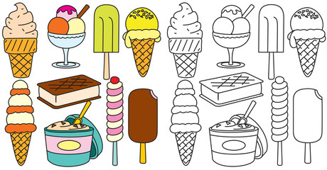 Ice Creams Vector. Hand Drawn Icons Collection