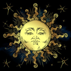 Golden sun and stars vector illustration. Hand drawn boho style fabric design, astrology, alchemy, magic symbol