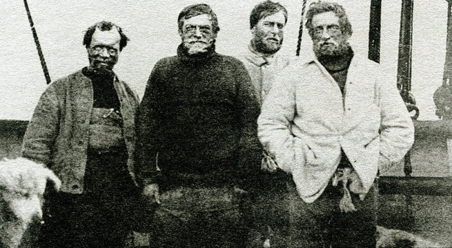 Nimrod Expedition South Pole Party (left to right): Frank Wild, Ernest Shackleton, Eric Marshall and Jameson Adams, 1909
