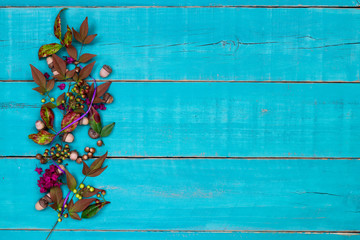 Blank teal blue wood sign with nature decorations and floral border