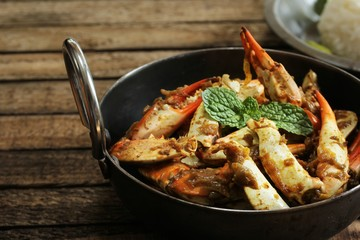 Crab Masala Roast served with cooked Jasmin rice