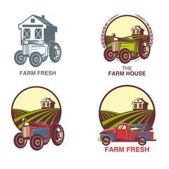 Farm Fresh Products Badge Set Vector Illustration
