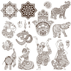 Elephant, dancers, ganesh, hamsa, ohm in the mehendi style. Set of ornate elements for design.