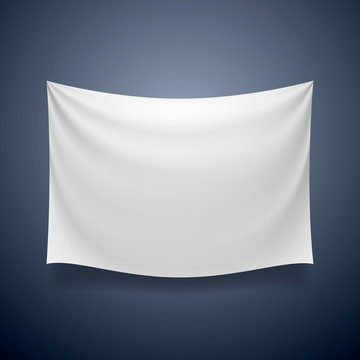 White cloth banner signboard blank. Vector illustration