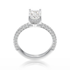 3D illustration white gold or silver traditional engagement diamond ring with reflection
