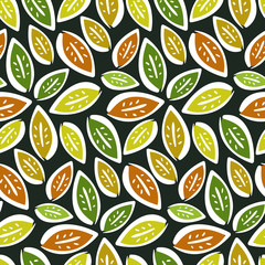 Autumn seamless pattern with hand drawn contrast leaves on dark background. Cute kids texture for textile, wrapping paper, surface, cover, web design
