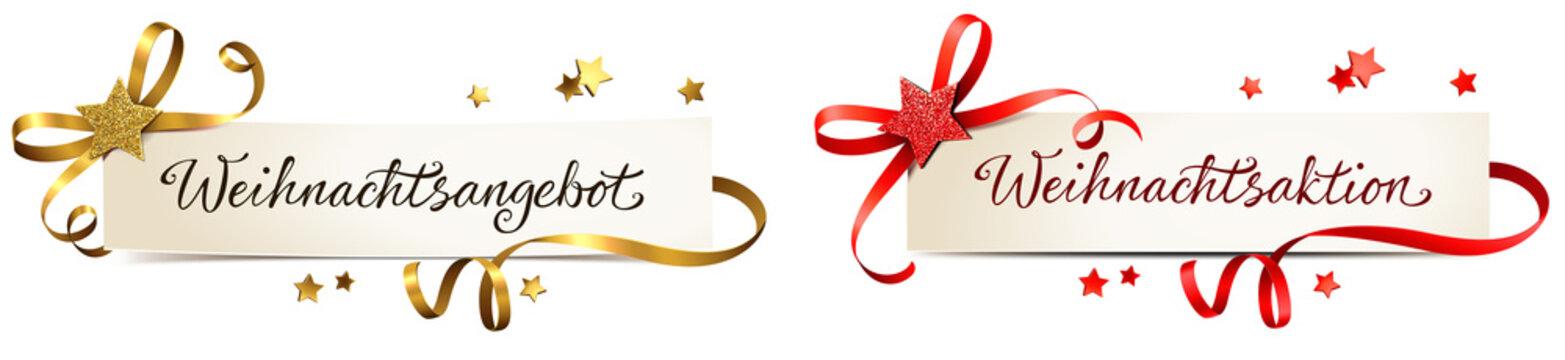 Weihnachtsangebot, Weihnachtsaktion - Banner Set mit Schleife und Glitter Stern, Rot/Gold