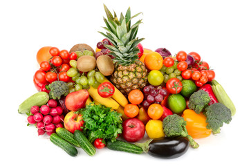 Collection of bright fresh fruits and vegetables isolated on a white background.