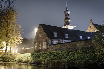 Church next to the lake during the next. Husum, Germany