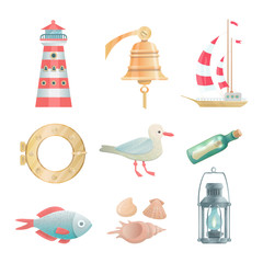 Cartoon vector nautical elements. Highly detailed. All objects are conveniently grouped