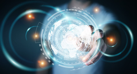 Businessman using hologram screen with digital datas 3D rendering
