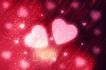 Red abstract Valentines Day festive background and heart bokeh, glitter or circles lights with hearts. Round  defocused particles