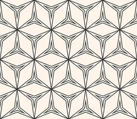 Abstract geometric ornament, thin lines, triangular shapes. Seamless pattern