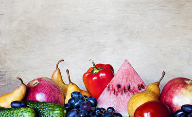 ripe, juicy vegetables and fruits on the table