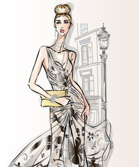 Wall Mural - Young beautiful sexy woman in fashion sketch style. Street style girl with clutch at city background vector