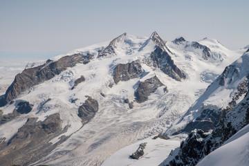 Scenic glacier landscape in italian Pennine Alps