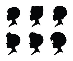 A set of girls silhouettes with short haircuts.