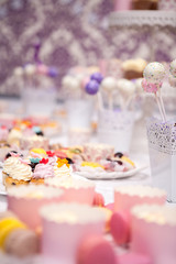 Sweet candy bar at the wedding. Celebration and party