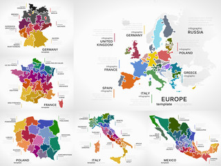 Maps infographic collection pack with Europe, Germany, France, Poland, Italy and Mexico puzzle illustrations